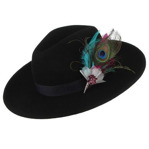 Colorful Peacock Feather Teardrop Wool Hat (4 Available Colors)