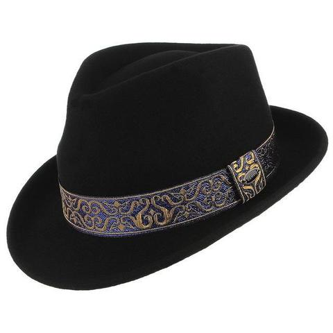 Royal Gold & Blue Embroidered Black Wool Hat