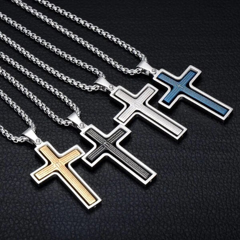 Two Tone Stainless Steel Cross Christian Pendant Necklace