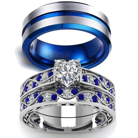 Wave Blue & White Zirconia Stainless Ring Set