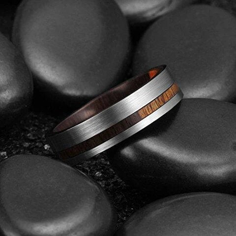 Tungsten Carbide with Wood Inlay Wedding Ring