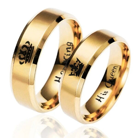 Gold Plated Stainless Steel Crown Couple Ring