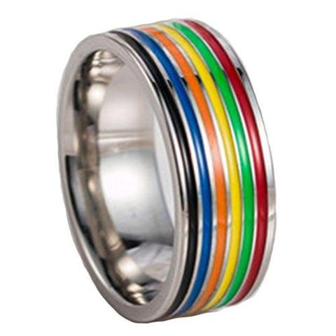 Natural Stainless Steel Gay Lesbian Rainbow Wedding Ring