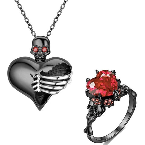 2PC Skeleton Heart Colored Zirconia Stainless Set