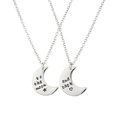 To The Moon & Back BFF Star Heart Necklace Set