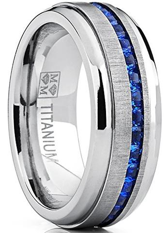 Men's Simulated Blue Sapphire CZ Titanium Wedding Band
