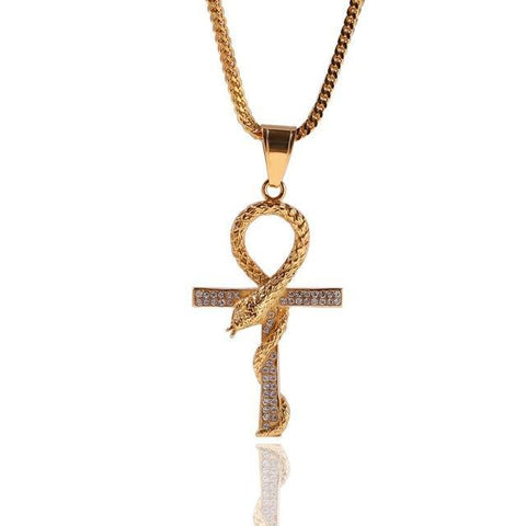 3D Crystal Pave Nehushtan Egyptian Ankh Stainless Steel Necklace