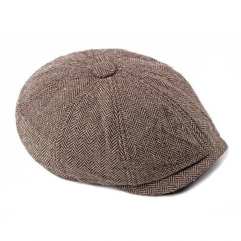Classic Herringbone Tweed Eight Paneled Cap