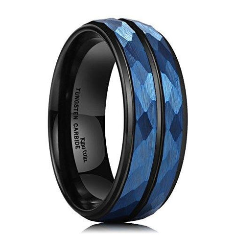 Two-Tone Black Blue Hammered Tungsten Carbide Ring