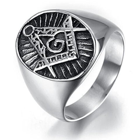 Men's Stainless Steel Silver and Black Masonic Ring