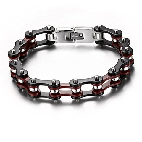 Red Black Stainless Bicycle Chain
