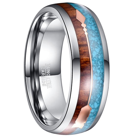 Wood Blue Rose Gold Arrow Tungsten Carbide Ring