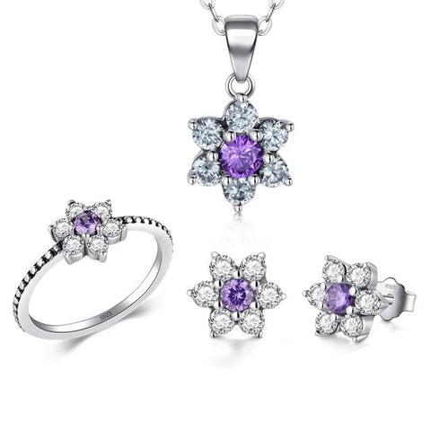 3PC Floral CZ Sterling Silver Bridal Jewelry Set