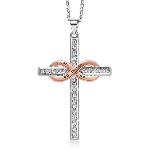 Infinity Cross Crystal Faith Pendant Stainless Steel Necklace