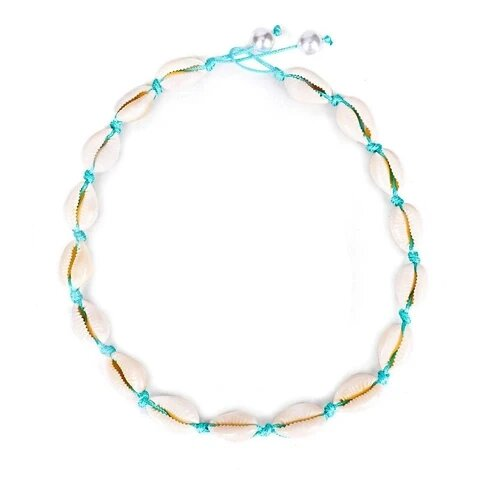 Puka Shell Pearl Latch Turquoise Blue Rope Necklace