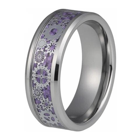 Silver-Tone Tungsten Carbide Lavender Gear Inlay Wedding Band