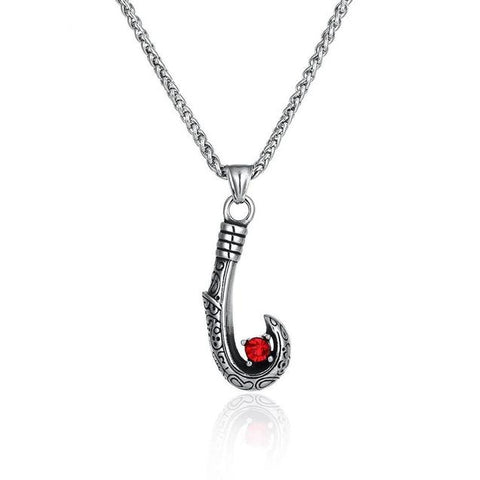 Red Crystal Tribal Pattern Fishhook Necklace