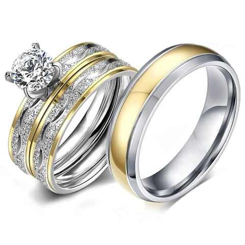 Gold & Silver Tiffany Sandblasted Stainless Ring Set