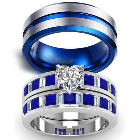 Royal Blue & White Heart zirconia Stainless Ring Set