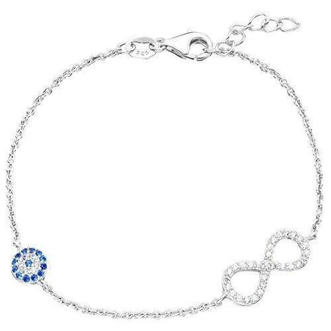 Sterling Silver Iced Infinity Ball Charm Chain Bracelet