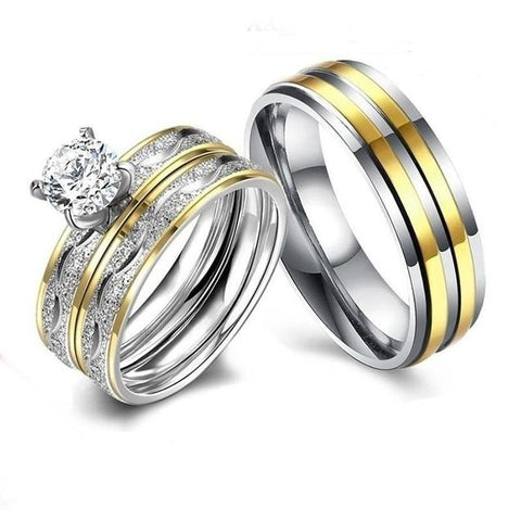 Circular Cut White CZ Two-Tone Stainless Ring Set