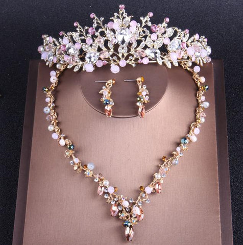 Pink & White Crystal Beads Stainless Jewelry Set