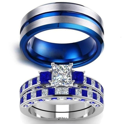 White & Blue Three Stone Bezel Set Stainless Ring Set
