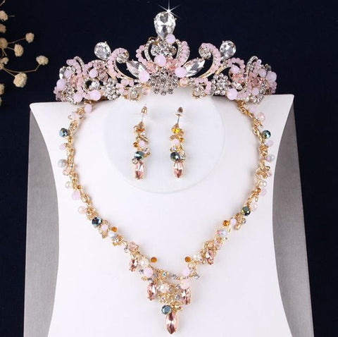 Pink & White Crystal Beads Gold Tone Stainless Crown Set