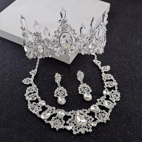 Large Oval Cut Ice Crystal Tiara Stainless Jewelry Set