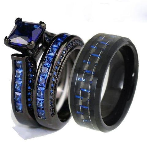 Blue & Black Carbon Fiber CZ Stainless Ring Set
