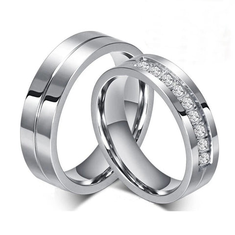 Lustrous Circular Cut Chanel Pave Stainless Ring Set
