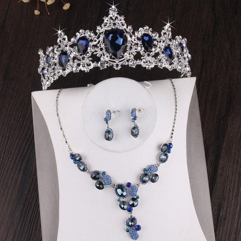 Blue Sapphire Zirconia Halo Stainless Wedding Crown Set
