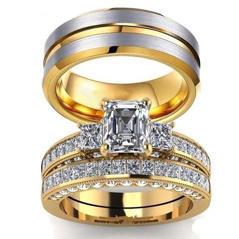 Gold & Silver Three Stone Zirconia Stainless Ring Set