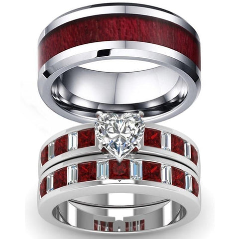 Imperial Red Bezel Pave Heart CZ Stainless Ring Set