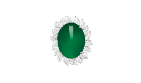 Exceptional Jadeite and Diamond Ring
