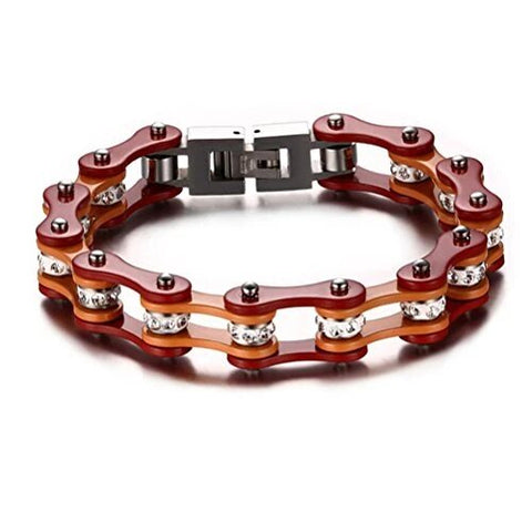Red Orange Stainless Bicycle Chain with Rhinestone