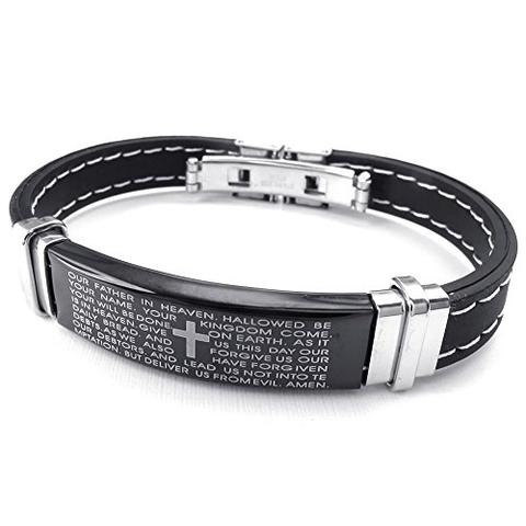 Unisex Black Rubber Stainless Steel Lord's Prayer Bracelet