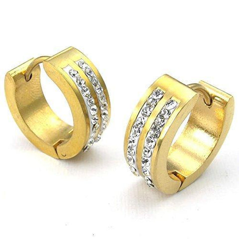 Double Crystal Inlay Gold Plated Stainless Steel Huggie