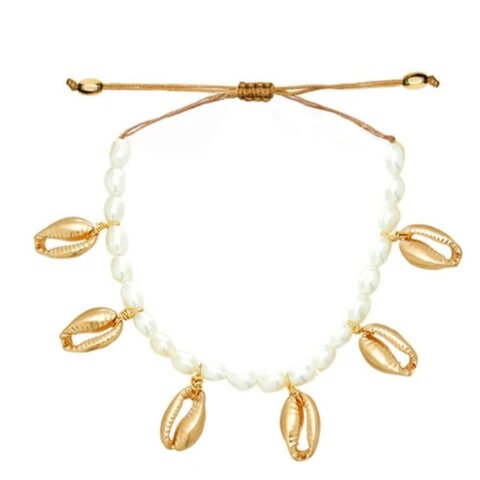 Adjustable White Pearl Golden Plated Puka Shell Rope Necklace