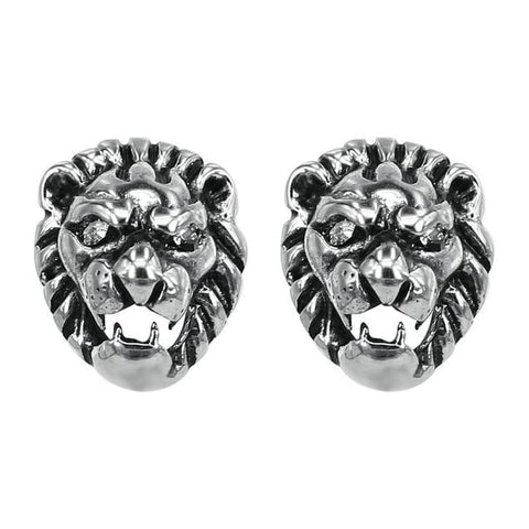 Lion Head Stainless Steel Fashion Stud Earrings