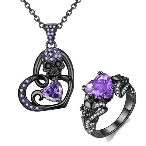 Crystal Heart Skull Ring Necklace Black Stainless Jewelry Set