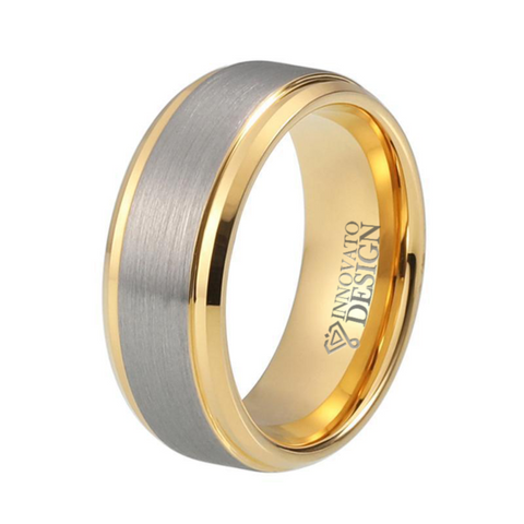 Silver & Gold Brushed Top Tungsten Carbide Wedding Band