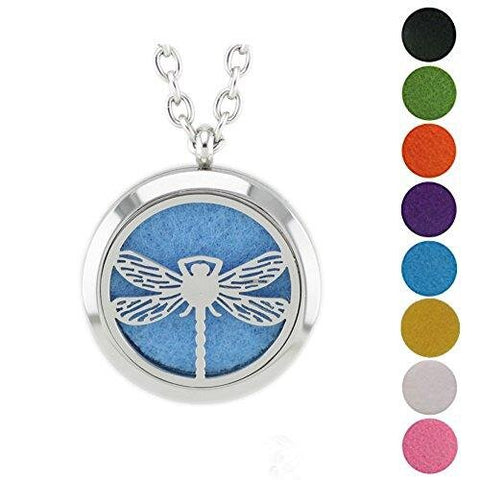 Eight Felt pads Aromatherapy Diffuser Locket Pendant Necklace