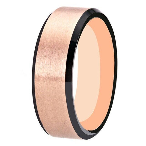 Two tones 8mm Matte Tungsten Carbide Ring