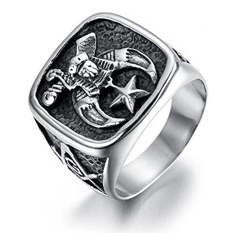Men's Stainless Gothic Silver and Black Masonic Ring