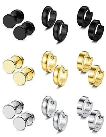 Stainless Steel Stud Hoop Earrings for Men