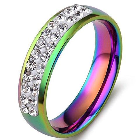 Stainless Steel Pave CZ Rainbow LGBT Wedding Ring