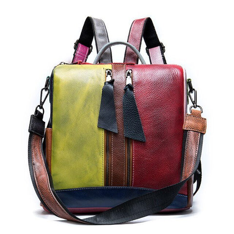 Multi-Color Square Leather Sling Bag or Backpack for Girls