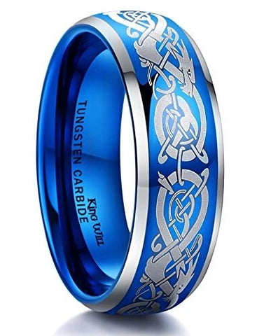 Sapphire Blue Tungsten Carbide Ring Silver Celtic Knot Dragon engraving Wedding Band