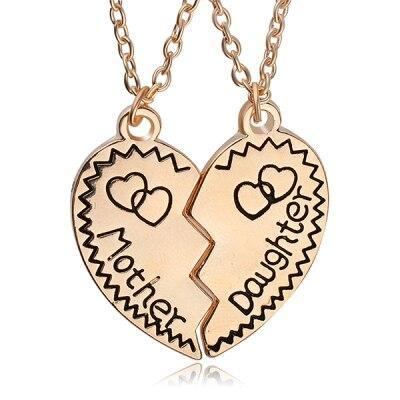 Mom & Daughter Heart Pendant Necklace Set